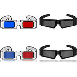 3D Glasses. Cartoon illustration showing old and new versions of 3D glasses Royalty Free Stock Photo