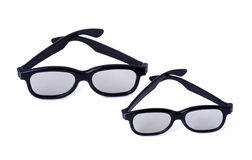 3D glasses adults and children. On a white background isolated Royalty Free Stock Images