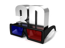 3d Glasses And 3d Metal Symbol Text On White Royalty Free Stock Photo
