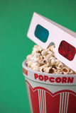 3D glasses & a bucket of popcorn Stock Image