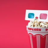3D glasses & a bucket of popcorn Royalty Free Stock Image