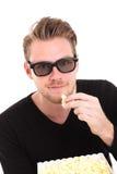 3D-glasses com uma cubeta da pipoca Imagens de Stock
