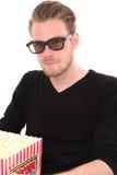 3D-glasses con un compartimiento de las palomitas Foto de archivo libre de regalías