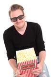3D-glasses con una benna del popcorn Fotografia Stock Libera da Diritti