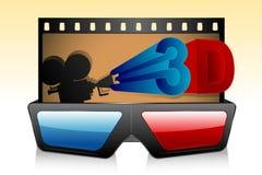 3d Glasses with Film Strip. Illustration of 3d glasses with film strip and camera Stock Photos