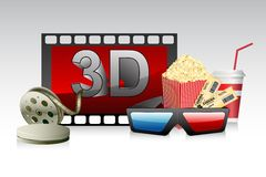 3d Glasses with Film Strip. Illustration of 3d glasses with film strip and pop corn Royalty Free Stock Photos
