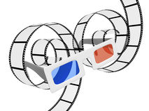 3d glasses and filmstrip Stock Photography