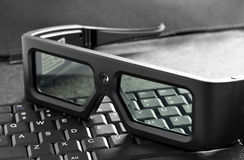 3d glasses on laptop Stock Photos