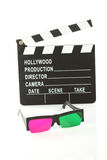3D glasses and movie clapper Stock Image