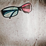 3D glasses old grunge paper texture Royalty Free Stock Image
