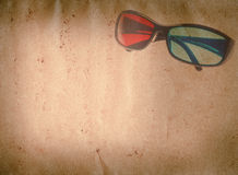 3D glasses old grunge paper texture Stock Images