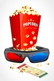 3d Glasses with Pop Corn. Vector illustration of 3d glasses with pop corn and movie ticket Stock Photo