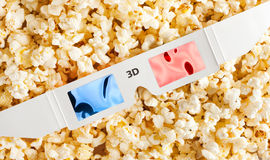 3D Glasses and popcorn Royalty Free Stock Photography