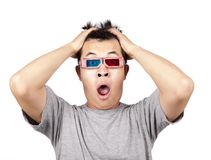 3D glasses and shocked man Stock Image