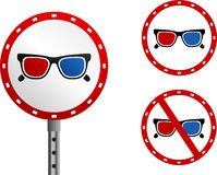 3D glasses signs Royalty Free Stock Photos