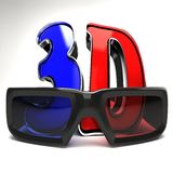 3D Glasses with Text Royalty Free Stock Photography