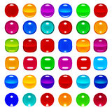 3d glassy color spheres and buttons set Stock Photography