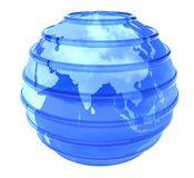 3d glassy Earth Globe focused in Asia. Blue glassy transparent planet Earth with lines parallel. 3D object focused in Asia on white background stock image