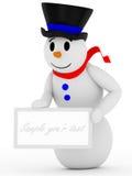 3D glimlachende sneeuwman met teken Stock Foto's