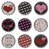 3D Glitter Button Set - Love Royalty Free Stock Photo