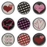 3D Glitter Button Set - Love. Cute 3D Glitter Buttons Royalty Free Stock Photo