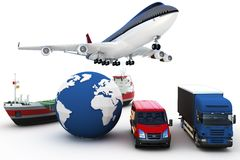 3d global cargo transport concept royalty free illustration
