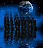 3D global con la reflexión del agua Fotos de archivo