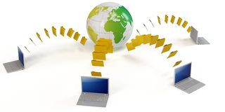 3d global file transfer concept. On white background Stock Photos