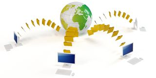 3d global file transfer concept. On white background Stock Images
