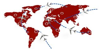 3d global flight routes concept. On white background Royalty Free Stock Images