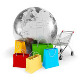 3d global shopping concept Stock Photography