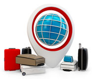 3d global traveling with pile of luggage Royalty Free Stock Photos