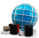 3d global traveling with pile of luggage Royalty Free Stock Images