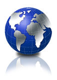3d globe. In blue color Royalty Free Stock Photo