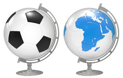 3d the Globe with 3D soccer balls Stock Photos