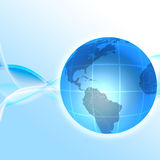 3D globe. A 3D globe on an abstract wavy blue background vector illustration