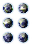 3d globe in 6 views Stock Photos