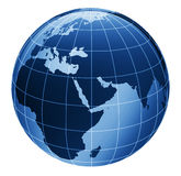 3d globe in blue Stock Photo