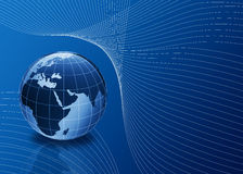 3d globe in blue with lines Stock Image