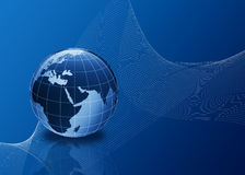 3d globe in blue with lines. 3d globe in blue with abstract lines Stock Images