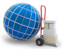 3d globe with cart and boxes Stock Image