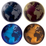 3d Globe - Color set. Set of color globes, isolated on white background: blue, dark blue, orange and vinous. Map of Earth planet vector illustration