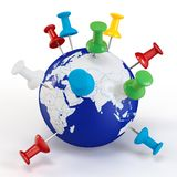3d globe with colored pushpins Stock Photography