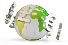 3d globe with currency symbols Royalty Free Stock Photos