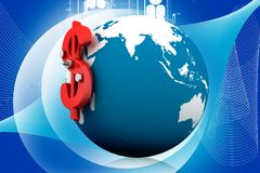 3d globe dollar sign Royalty Free Stock Photos