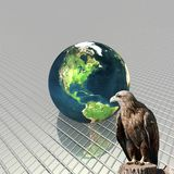 3D globe with eagle Royalty Free Stock Images