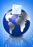 3d globe with email envelope Royalty Free Stock Images
