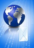 3d globe with email envelope. In blue background Stock Photography