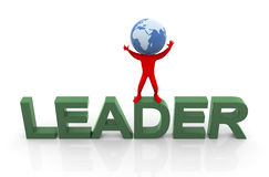 3d globe head leader Royalty Free Stock Photo