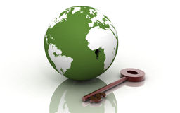3d globe and key Royalty Free Stock Images